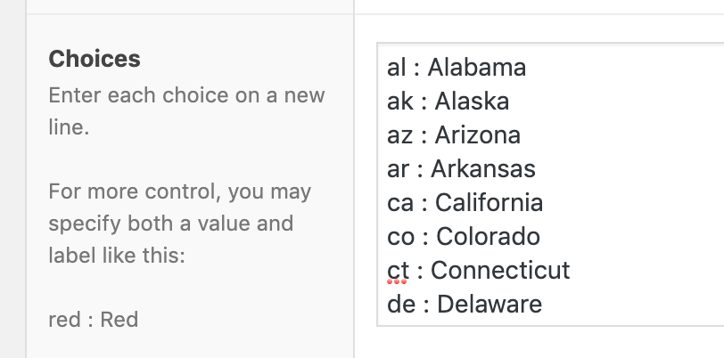 List of US States for ACF Select Field (with lowercase values)