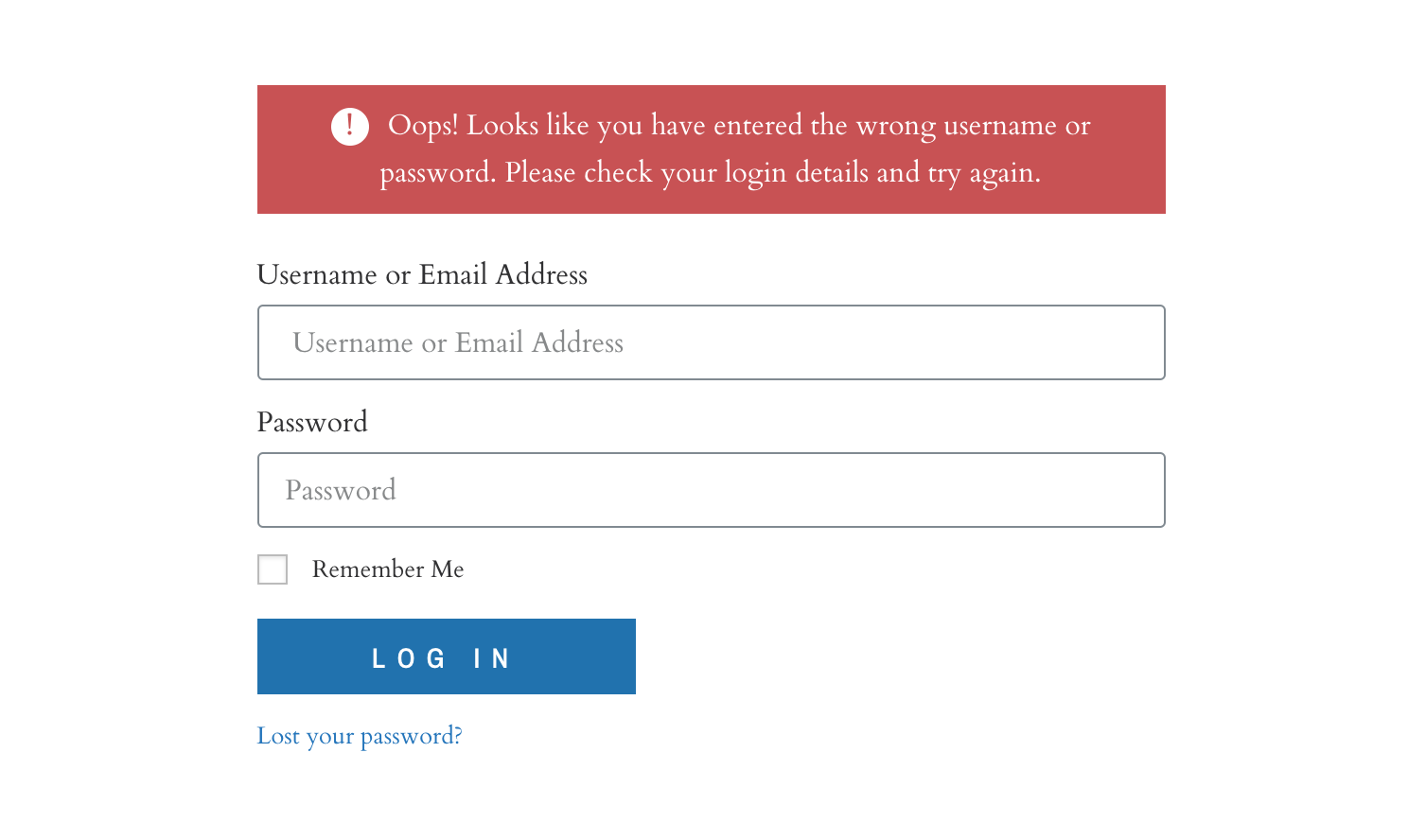 Elementor: On failed logins on the login form, redirect back to the login page and add a failed message